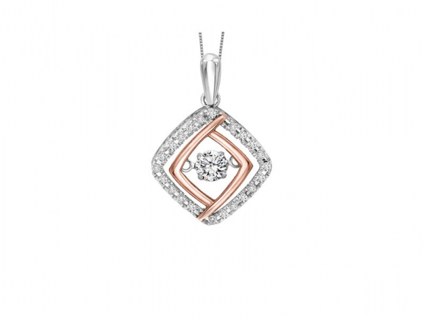 Diamond Necklace - Sterling silver & 10kt rose gold Rhythm of Love diamond necklace with 1/3ctw