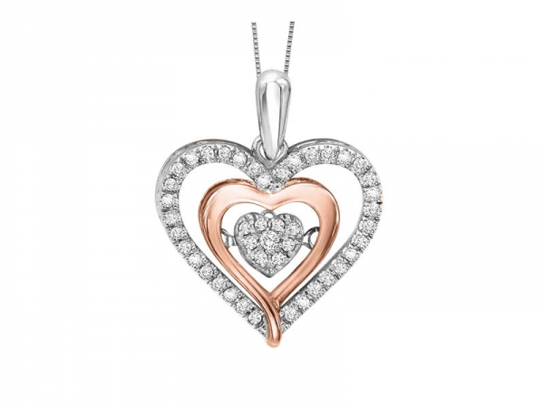 Diamond Necklace - 10kt rose gold and sterling silver Rhythm of Love diamond necklace with .23ct tw
