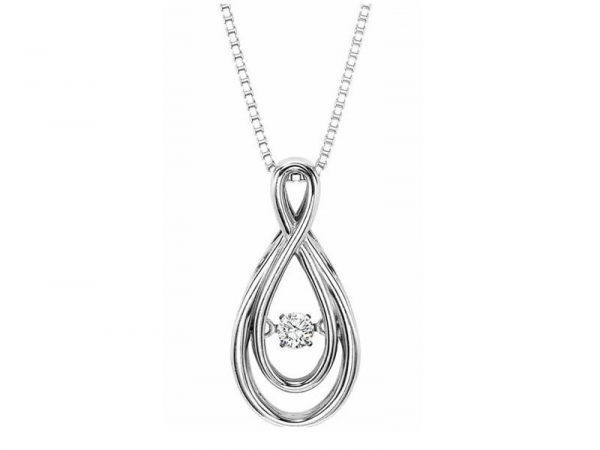 Diamond Necklace - 14kt white gold Rhythm of Love diamond necklace with .10ct total weight