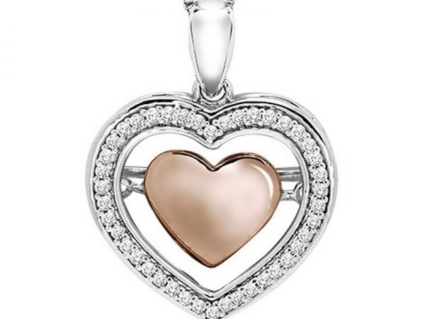 Diamond Necklace - 10kt white and rose gold diamond Rhythm of Love necklace with 1/7ctw