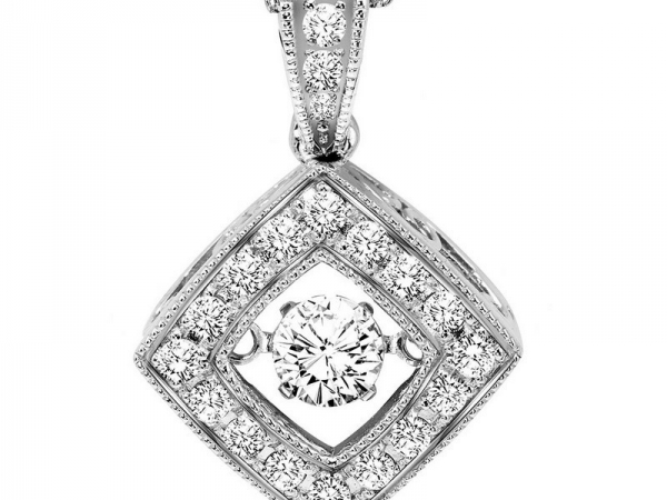 Diamond Necklace - 14kt white gold diamond Rhythm of Love necklace with 1/3ctw
