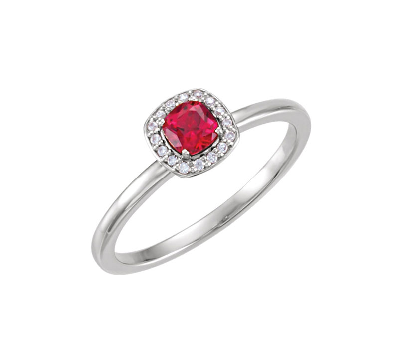 14kt White Gold Chatam Created Ruby and Diamond Ring - 14kt white gold Chatham created ruby and diamond ring