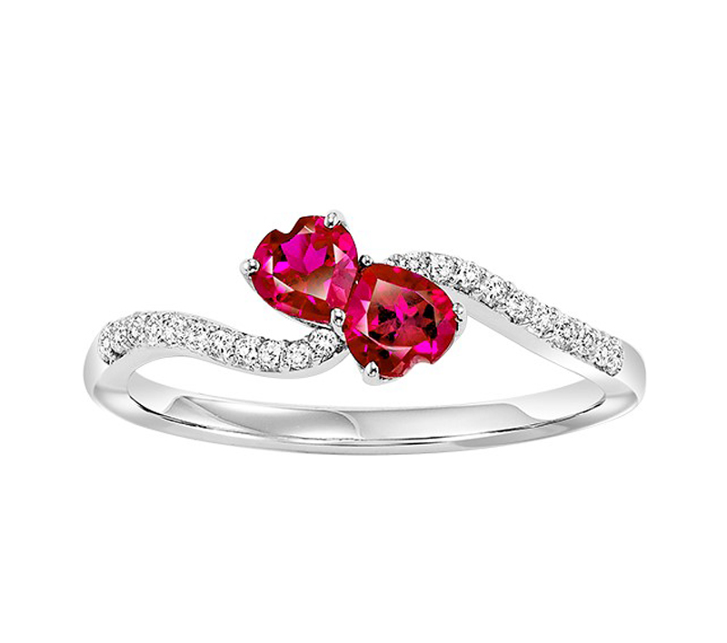 Sterling Silver Created Ruby & White Sapphire Ring - Sterling silver white sapphire and created ruby Twogether heart ring