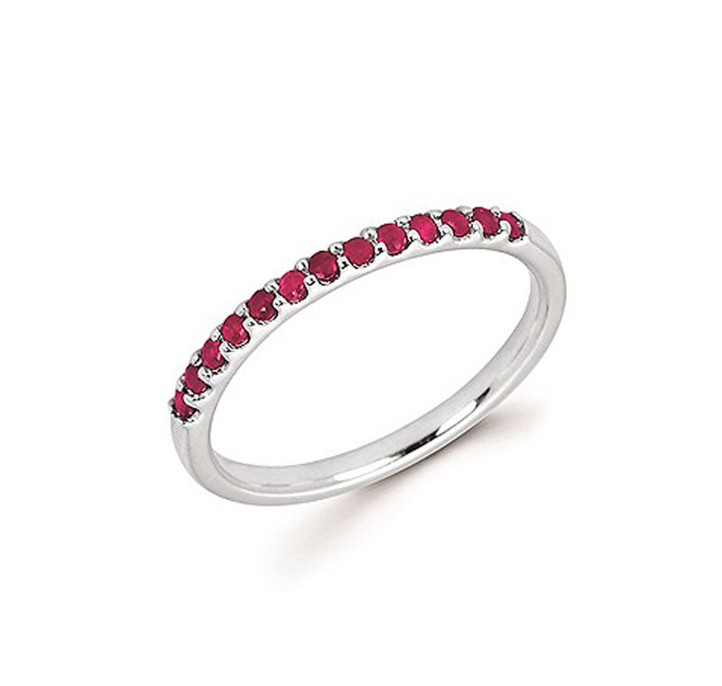 14kt White Gold Ruby Stackable Ring - 14kt white gold ruby stackable ring
