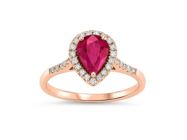 14kt Rose Gold Ruby & Diamond Ring - 14kt rose gold ruby & diamond ring with 1.50ct total gem weight