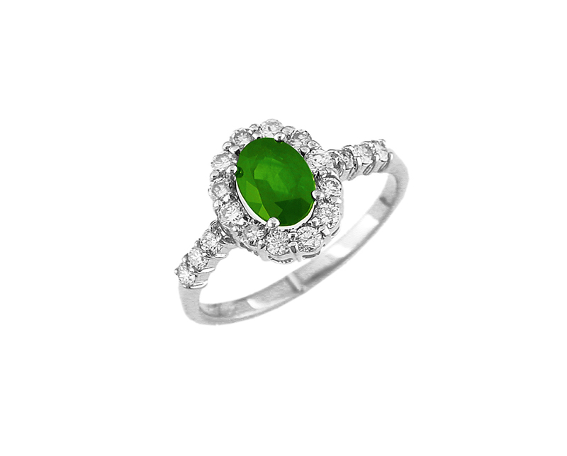 14kt White Gold Emerald & Diamond Stone Ring - 14kt white gold emerald & diamond ring
