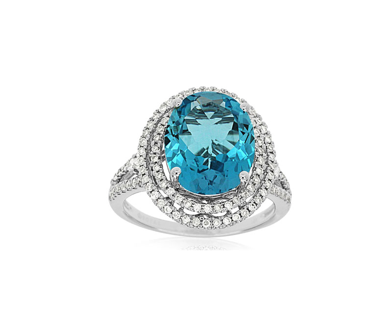 14kt White Gold Blue Topaz & Diamond Ring - 14kt white gold blue topaz & diamond ring