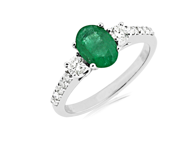 14kt White Gold Emerald & Diamond Ring - 14kt white gold emerald & diamond ring