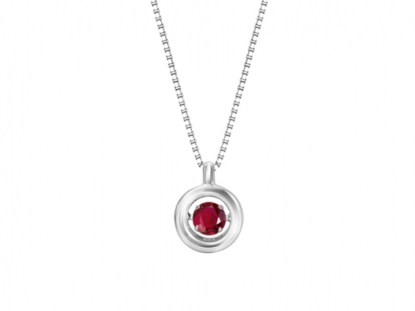 Sterling Silver Rhythm of Love Necklace - Sterling silver Rhythm of Love Ruby necklace