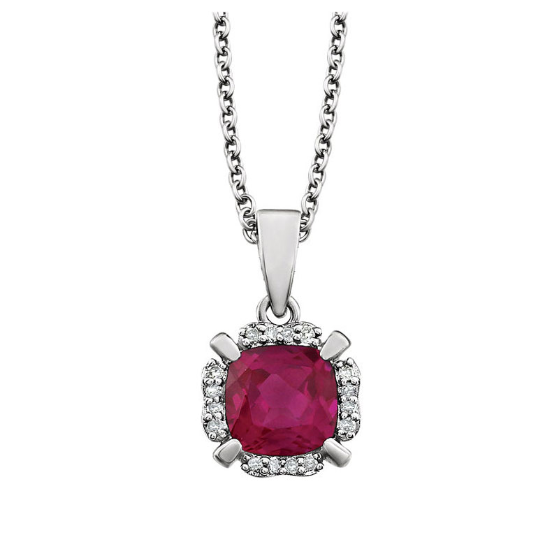 14kt White Gold Lab Created Ruby & Diamond Necklace - 14kt white gold lab created ruby and diamond necklace