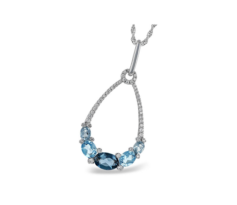 14kt White Gold Blue & White Diamond Necklace - 14kt white gold blue topaz and diamond necklace with 1.96tgw