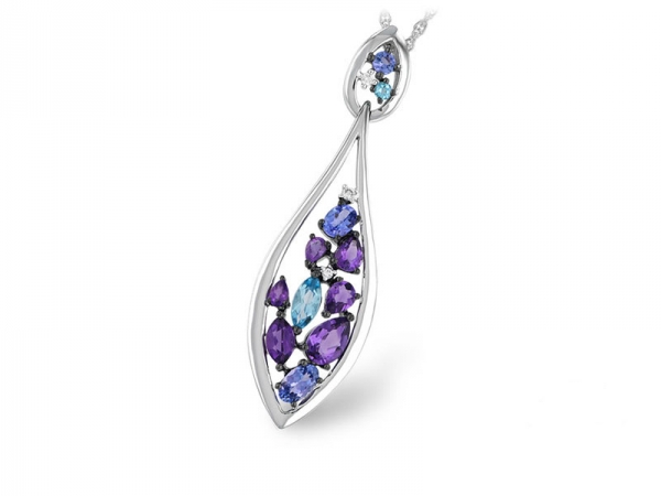14kt White Gold Amethyst, Blue Topaz, Tanzanite & Diamond Necklace - 14kt white gold amethyst, blue topaz, tanzanite & diamond necklace with 1.66ct total gem weight