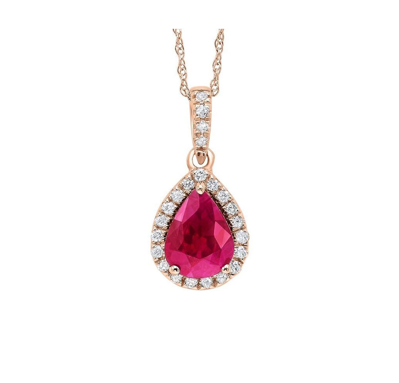 Colore Stone Necklace - 14kt rose gold ruby & diamond necklace with 1.43ct total gem weight
