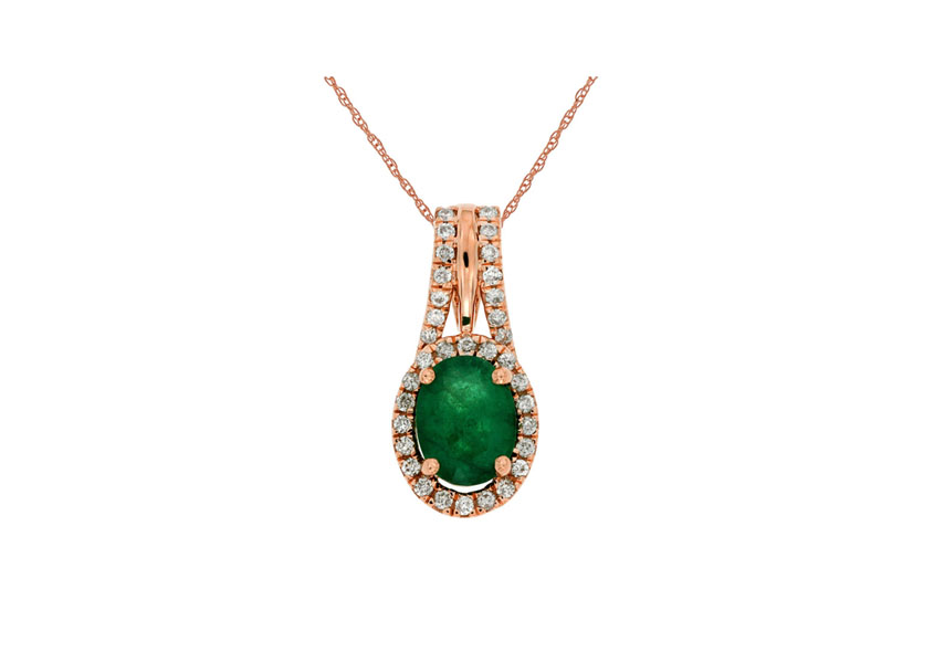 14kt Rose Gold Emerald & Diamond Necklace - 14kt rose gold emerald & diamond necklace