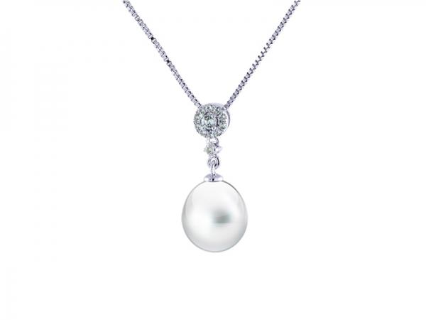 Sterling Silver Pearl & White Topaz Necklace - Sterling silver 8.5-9mm freshwater pearl and white topaz pendant