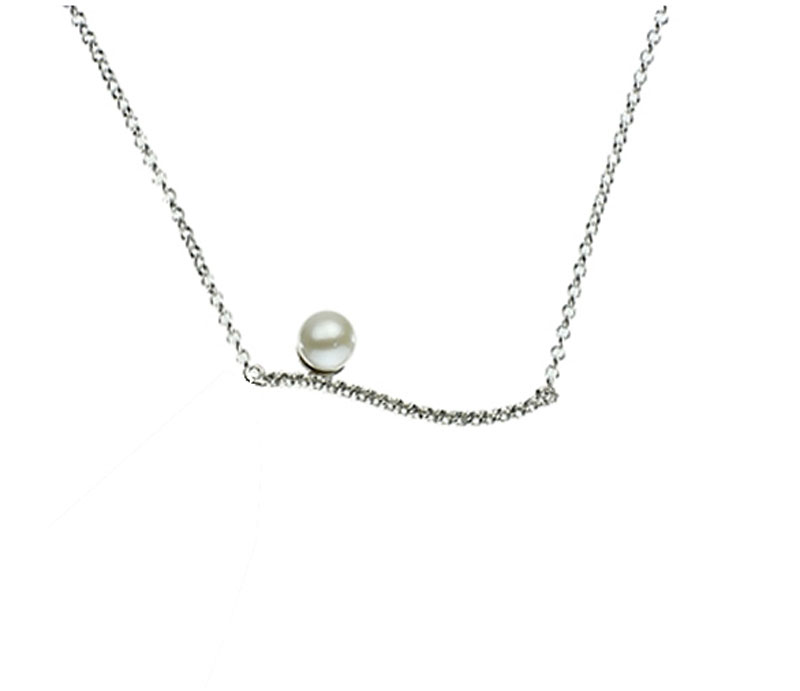 Sterling Silver Freshwater Pearl & White Topaz Necklace - Sterling silver 5.5-6mm round freshwater pearl and white topaz necklace