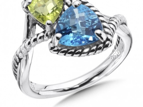 Peridot and Blue Topaz Ring - Sterling silver Colore peridot and blue topaz ring