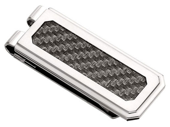 Mens Accessories - I.B. GOODMAN 58746MON Gent's Stainless Steel Money Clip with Gray Carbon Fiber Inlay, Collection: Carbon Fiber