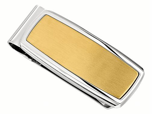 Mens Accessories - I.B. GOODMAN 10627MON Gent's Stainless Steel Money Clip with Yellow Gold IP, Collection: Derby