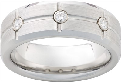 Fine Jewelry - JEWELRY INNOVATIONS: DIAMOND GRID — STONE FINISH SERINIUM® RING RMSA006021 Ring Width: 8mm, Available Sizes: 5 to 16.5, Ring Metal: Serinium®, Diamonds: (3) .06 carats round diamonds, Whether you like to be on or off the grid, this striking diamond ring belongs on your hand. Stone ground finished solid Serinium® with polished beveled edges and three .06 carat round diamonds, this ring is also available with a single diamond (RMSA002839), polished finish (RMSA002836 or RMSA02838), and satin