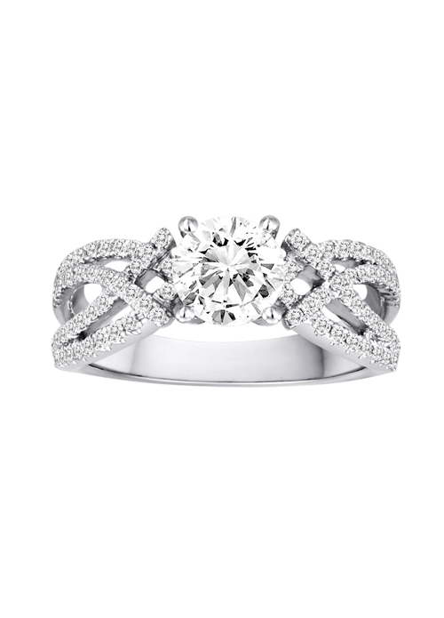 DIADORI Engagement Ring - DIADORI DFWR4918 pictured and priced in 18K White Gold Contemporary Engagement Ring with .40ctw of diamonds  (does not include the center stone, made to hold a 1ct round center stone but can be modified for any shape or size center)