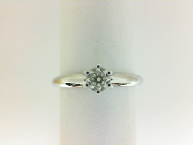 Engagement Ring - Lady's White 14 Karat Tiffany Style Engagement Ring Size 6.25 With One 0.25Ct Round H/I I1 Diamond