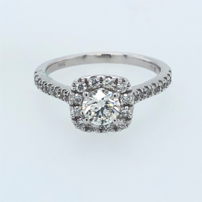 Engagement Ring - Lady's White 14 Karat Halo Engagement Ring Size 7.25 With One 0.55Ct Round G/H Si1 Diamond And 42=0.51Tw Round G/H Si2 Diamonds