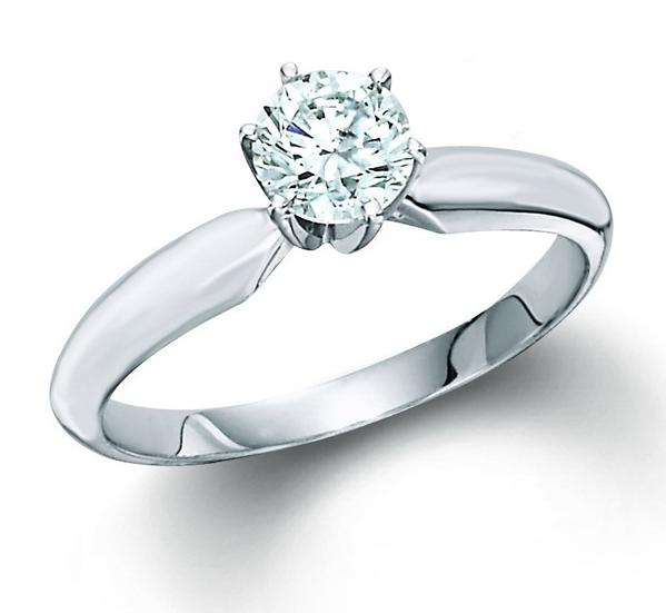 Engagement Ring - Lady's White 14 Karat Tiffany Style Engagement Ring Size 6.5 With One 0.50Ct Round H/I I1 Diamond