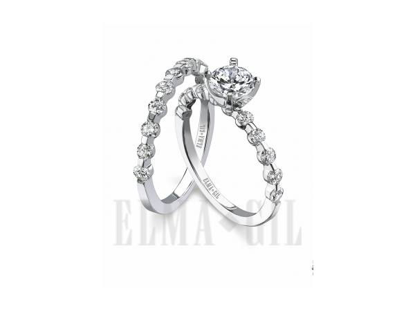 Wedding Band - ELMA GIL DR-245A 18 Karat White Gold Half Anniversary Diamond Wedding Band (band only) With 11=0.49Tw Round Diamonds, Size 6.5 (goes with ring # DR-245 in picture, but engagement ring is sold seperately)