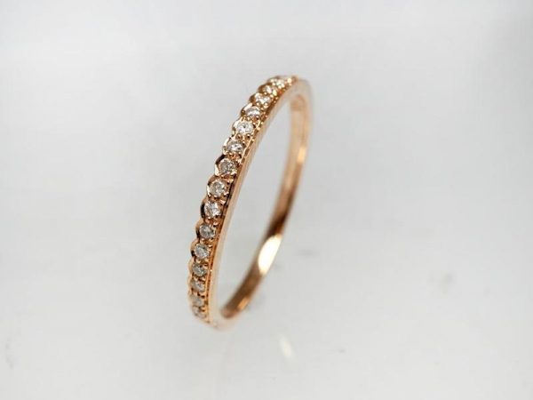 Wedding Band - Lady's Rose 14 Karat  Diamond Wedding Band With 17=0.12Tw Round Diamonds Size 7