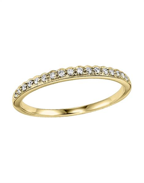 Wedding Band - Lady's Yellow 14 Karat  Diamond Wedding Band  With 17=0.12Tw Round Diamonds Size 7