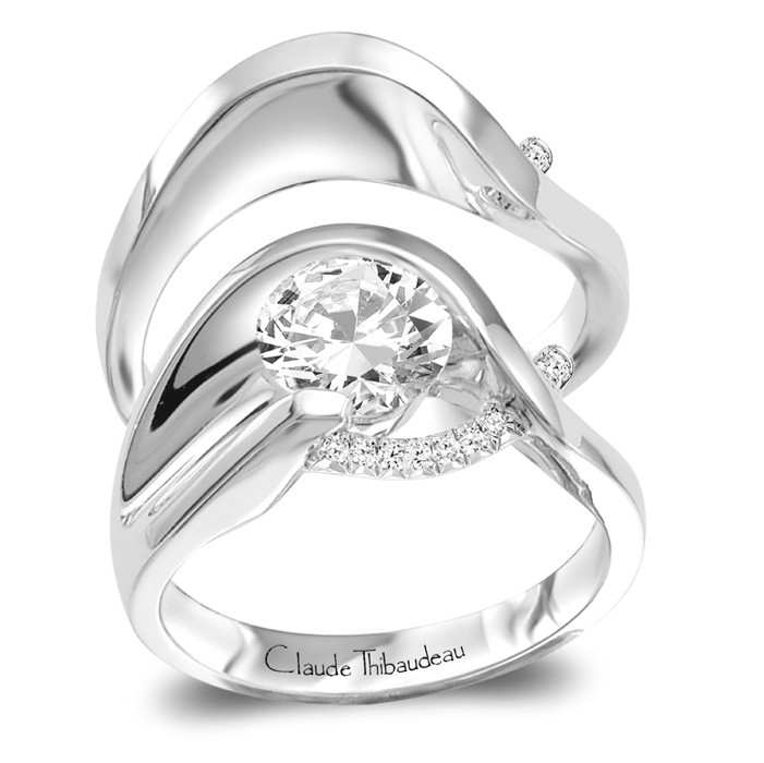 Diamond W-Set Semi-Mount - CLAUDE THIBAUDEAU White 18 Karat and Palladium Contemporary Ring Size 6.5 With 7=0.04Tw Round Vs1 Diamonds And One Round 6.2mm Cubic Zirconium Gold GM Wt: 7.6 Band GM wt: 5.5, Ring size 6.5