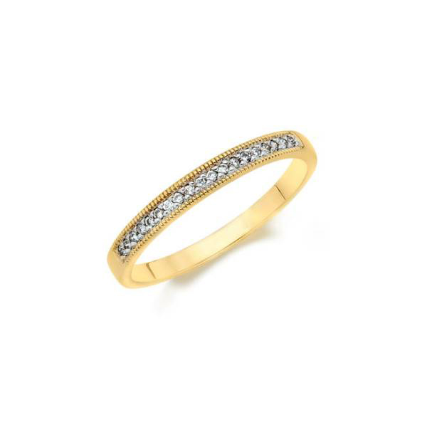 Anniversary Ring - Lady's Yellow 14 Karat Mill Grain Half Anniversary Anniversary Ring Size 7 With 19=0.10Tw Round Diamonds