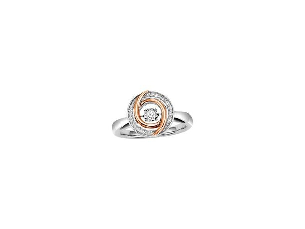 Fashion Ring - Lady's Two Tone Sterling Silver/10Kt Rose Gold Rhythm Of Love Fashion Ring Size 7 With One 0.02Ct Round G/H Si1 Diamond And 14=0.08Tw Round G/H Si2 Diamonds GM Wt of Gold: 4.2