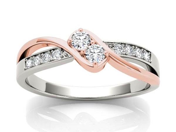 Fashion Ring - Lady's Two Tone 14 Karat White/Rose  Bypass Style