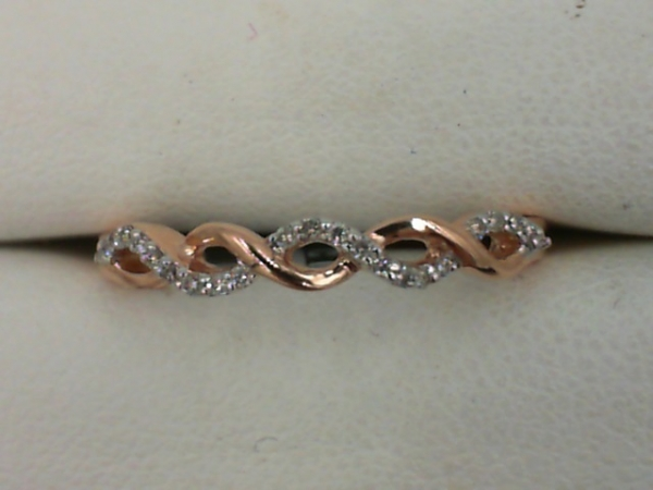Fashion Ring - Lady's Rose 14 Karat Twisted Fashion Ring Size 7 With 21=0.07Tw Round Diamonds
