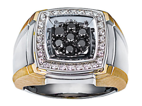 Fashion Ring - Gent's Two Tone Sterlling Silver/14Kt Cluster Fashion Ring Size 10 With 7=0.21Tw Round Black Diamonds And 28=0.56Tw Round H/I I1 Diamonds