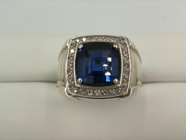 Fashion Ring - Gent's Halo Fashion Ring With One Cushion Created Sapphire And 28=0.28Tw Round H/I I1 Diamonds