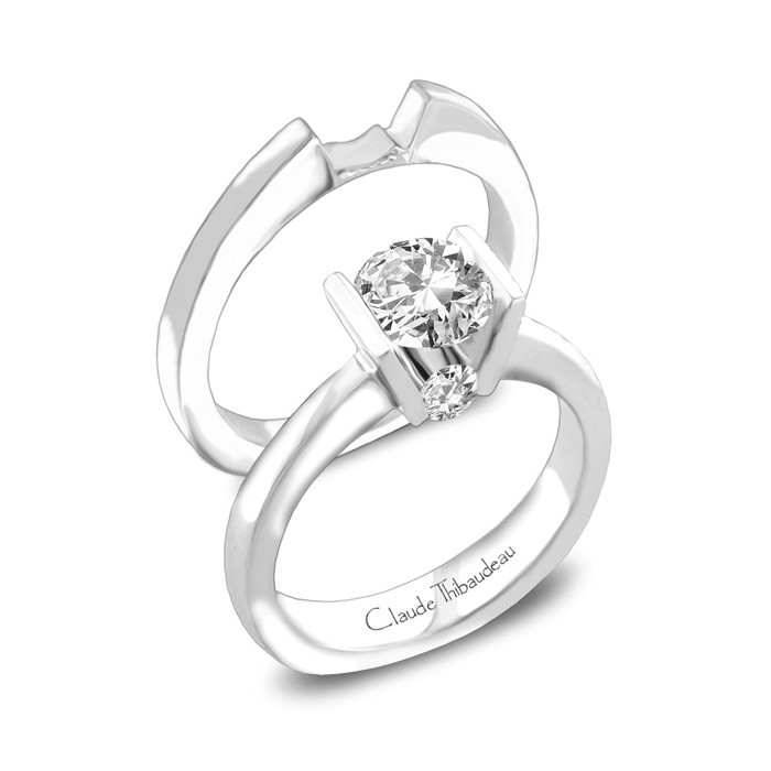 Ring - CLAUDE THIBAUDEAU PLT-3737 La Cathédrale  White 18 Karat Solitaire Ring Size 7 With 2=0.14Tw Round Diamonds (Center Stone Not Included)