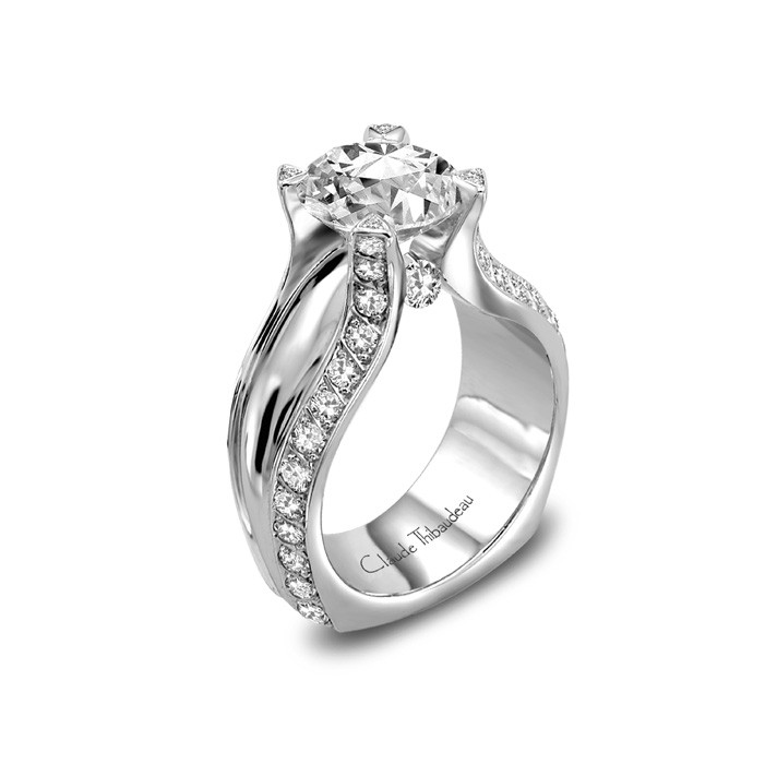 Ring - CLAUDE THIBAUDEAU La Royale MODPLT-3600White Gold 18 Karat Contemporary Ring Size 7, Total Diamond Weight: 0.54 (56=0.42tw Round G/H VS1 Diamonds, 4=0.02tw Round G/H VS1 Diamonds, 2=0.10tw Round G/H VS1 Diamonds), Gold GM Wt: 10.3 (Center Stone Not Included)