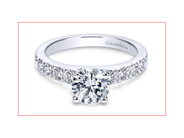 Ring - GABRIEL & CO ER3950W44JJ Wyatt 14k White Gold Round Straight Engagement Ring Precise pave diamond setting accentuates this charming 14k white gold diamond ring for a truly magical look. * Center stone not included. Center Diamond Size: 6.5 mm - 1.00 ct, Diamond Total: 0.40 ct, Crown type:Changeable ( 0.50ct - 2.50ct ), Collection: ContemporaryStyle: StraightStone Shape:Round