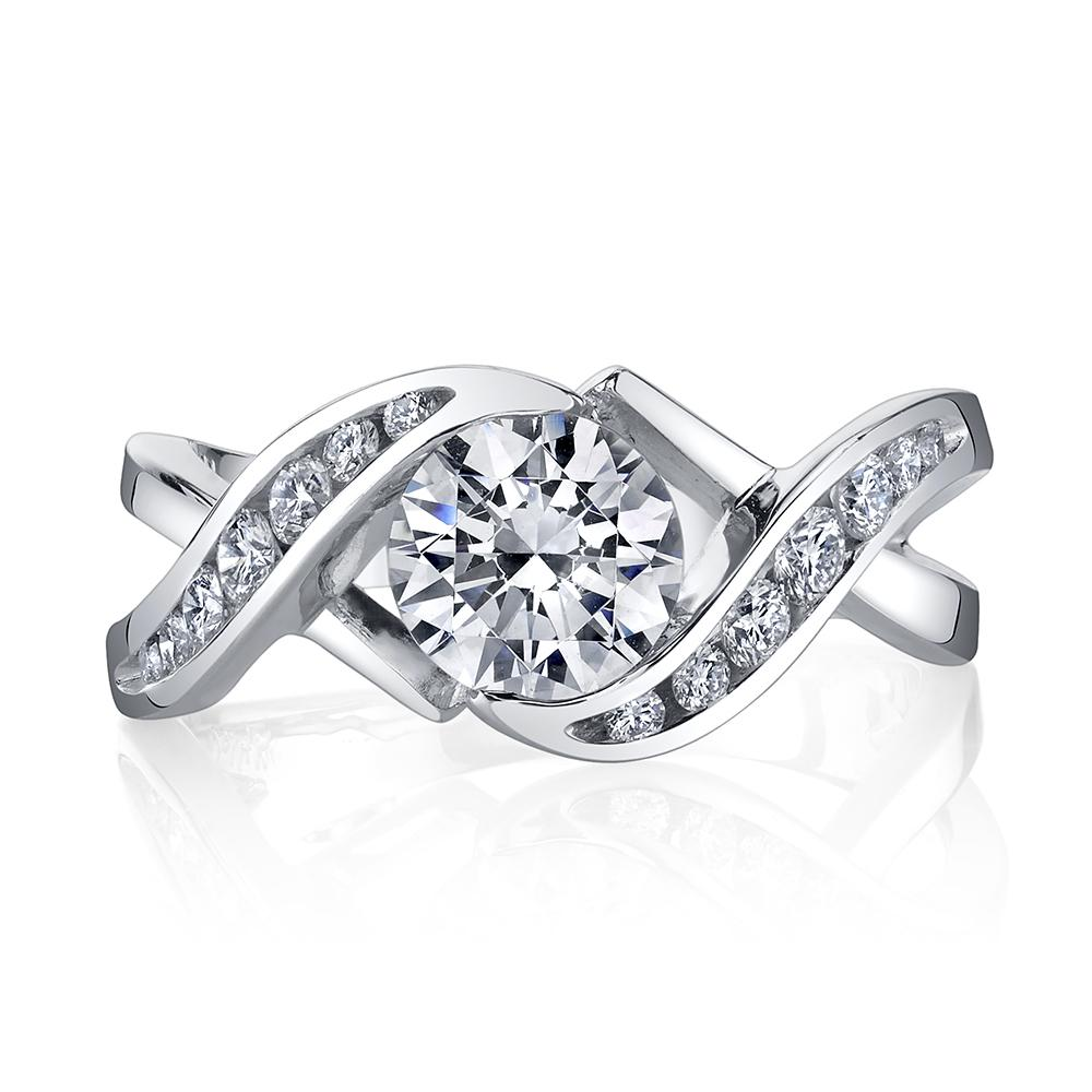 Ring - White 14 Karat Bi-Pass Style Ring