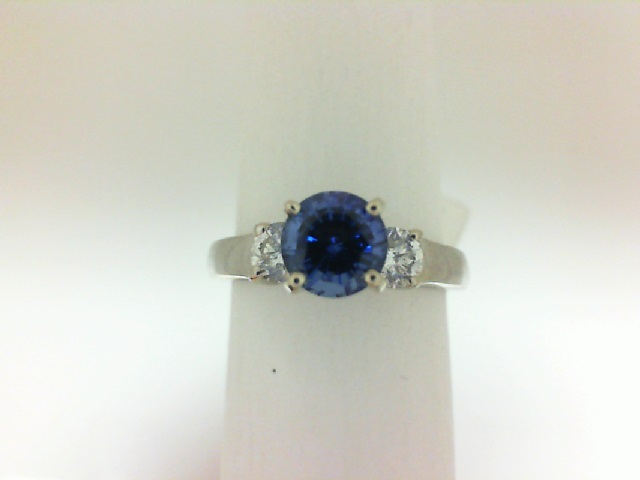 Ring - White 14kt White Gold Three Stone Ring Size 6.5 With 2=0.40Tw Round G/H Si2 Diamonds And One 1.00ct Round Blue Sapphire (Lab Grown) Gold GM Wt: 3.9