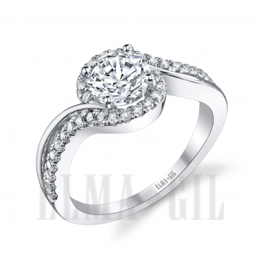 Ring - White 18 Karat Bi-Pass  Semi-Mount Diamond Ring With 36=0.29Tw Round Diamonds And One Round Cubic Zirconia In Center , Size 6.5