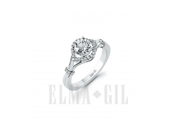 Ring - ELMA GIL DR-612 White 18 Karat Diamond Semi-Mount Ring With 36=0.18Tw Round Diamonds, Size 6.5 (center stone sold separately)