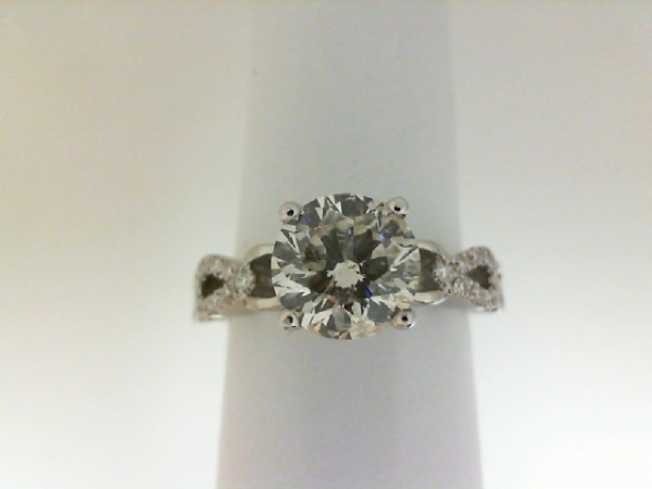 Ring - White 18 Karat Diamond Semi-Mount Ring With 34=0.19Tw Round Diamonds And One Round Cubic Zirconia In Center. Size 6.5