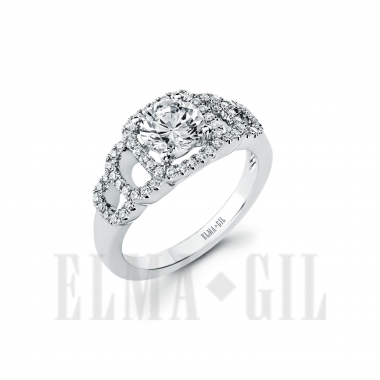 Ring - White 18 Karat  Diamond Semi-Mount Ring With 58=0.32Tw Round Diamonds And One Round Cubic Zirconia In Center Size 6.5