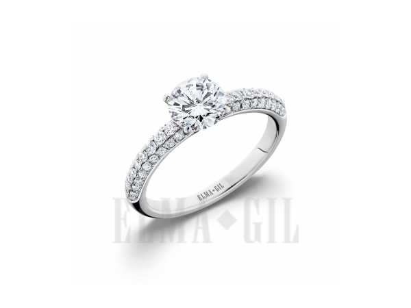 Ring - White 18 Karat  Diamond Semi-Mount Ring  With 60=0.43Tw Round Diamonds And One Round Cubic Zirconia In Center Size 6.5