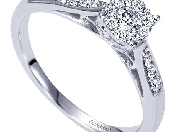 Ring - GABRIEL & CO ER98419W44JJ.CSD4 14k White Gold Round Halo Engagement Ring, This simple yet sophisticated round cut diamond halo sits atop a bejeweled filigree trellis, and brings attention to an array of diamonds on a straight channel band in this engagement ring, Center Diamond Size: 2.8 mm - 0.09 ct, Diamond Total: 0.35 ctw, Size 6.5 / COMPLETE: INCLUDES CENTER DIAMOND / The coordinating band that's shown with ring in pic 4 is sold seperately