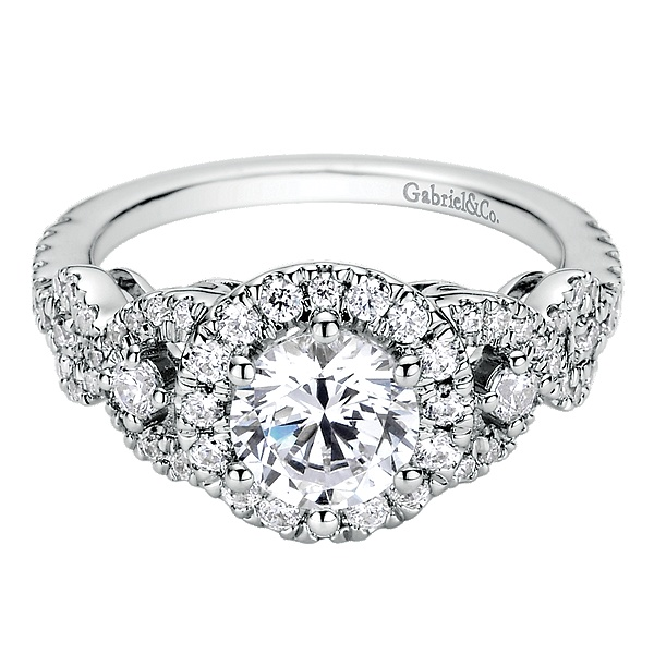 Ring - White Alloy Semi- Mount Round Halo Ring Size 6.5 With 62=0.67Tw Round Cubic Zirconias
